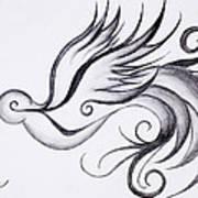 Swirly Sparrow Art Print