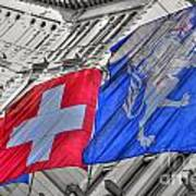 Swiss Flags  Art Print