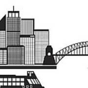 Sydney Australia Skyline Black And White Illustration Art Print