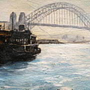 Sydney Ferry Wharves 1950's Art Print