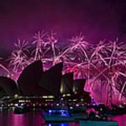 Sydney Fireworks - Purple Art Print