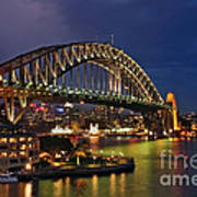 Sydney Harbour Bridge By Night Art Print by Kaye Menner