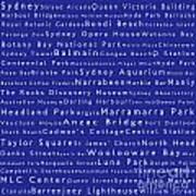 Sydney In Words Blue Art Print