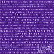 Sydney In Words Purple Art Print
