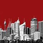 Sydney Skyline 1 - Dark Red Art Print