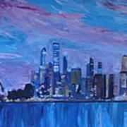 Sydney Skyline With Opera House At Dusk Art Print