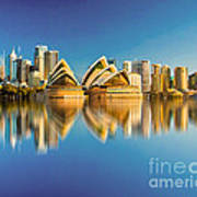 Sydney Skyline With Reflection Art Print
