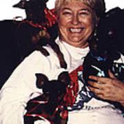 Sylver Short With Her Miniature Pinschers Christmas 2002-2008 Art Print