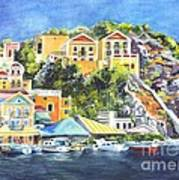 Symi Harbor The Grecian Isle  Print by Carol Wisniewski