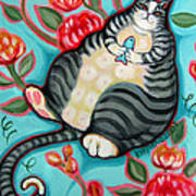 Tabby Cat On A Cushion Art Print