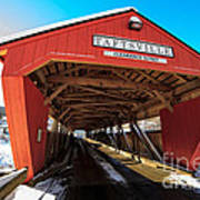 Taftsville Covered Bridge In Vermont In Winter Art Print by Edward Fielding
