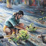 Tahitian Banana Carryer Art Print