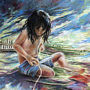 Tahitian Boy With Knife Art Print