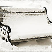Take A Seat  And Chill Out - Park Bench - Winter - Snow Storm Bw 2 Art Print