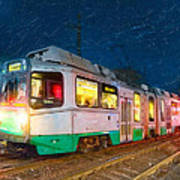 Taking The T At Night In Boston Art Print by Mark E Tisdale