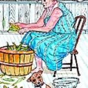 Talking To The Dog - Sitting On The Front Porch Art Print by Philip Bracco