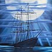 Tall Ship By Moonlight Art Print