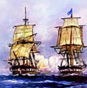 Tall Ships Uss Essex Captures Hms Alert  Art Print