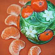 Tangerine Slices And Ceramics Art Print