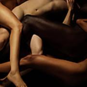 Tangled Human Bodies Of Different Skin Art Print