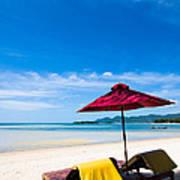 Tanning Beds On A Tropical Beach Koh Samui Thailand Art Print