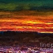 Taos Sunset Lx - Homage Turner Art Print