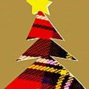 Tartan Christmas Tree On Gold Art Print