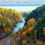 Taughannock River Canyon In Colorful Autumn Ithaca New York Panoramic Photography  Art Print