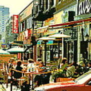 Tavern In The Village Urban Cafe Scene - A Cool Terrace Oasis On A Busy Hot Montreal City Street Art Print