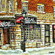 Taverne La Chic Regal Pointe St.charles Jazz Bar Montreal Paintings Winter Street Scene Original Art Art Print