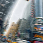 Taxi On Times Square Art Print