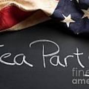 Tea Party Political Sign On Chalkboard Art Print