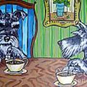 Tea Time For Schnauzers Art Print by Jay  Schmetz