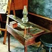 Teacher - Teacher's Desk With Hurricane Lamp Art Print by Susan Savad