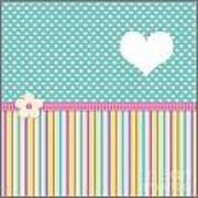 Teal Polka Heart Art Print