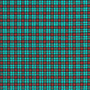 Teal Red And Black Plaid Fabric Background Art Print