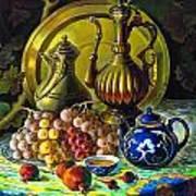Teapot And Brass Vases Art Print