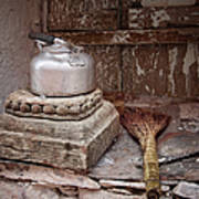 Teapot And Broom Art Print