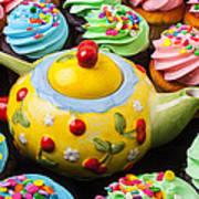 Teapot And Cupcakes  Art Print