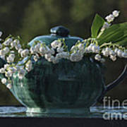 Teapot And Lily Of The Valley Art Print
