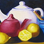 Teapots In Primary Colors Art Print