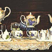 Teapots On Grundge Art Print