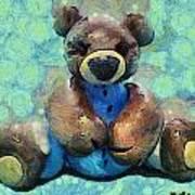 Teddy Bear In Blue Art Print