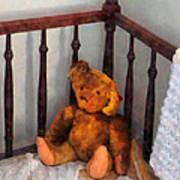 Teddy Bear In Crib Art Print