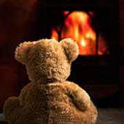 Teddy By The Fire Art Print