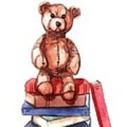 Teddy On Books Art Print