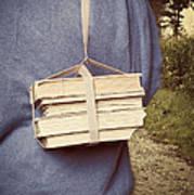 Teen Boy's Back With Books Art Print by Edward Fielding