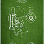 Telephone Patent Drawing From 1898 - Green Art Print