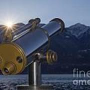 Telescope And Sunrise Art Print