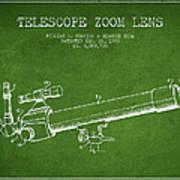 Telescope Zoom Lens Patent From 1999 - Green Art Print